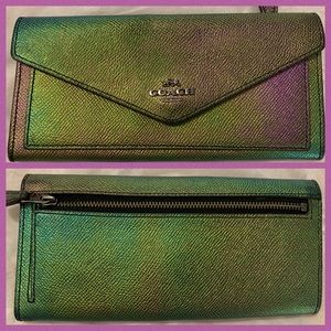 Coach Hologram Green Iridescent Metallic Wallet